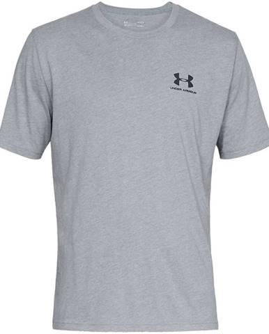 Pánske tričko Under Armour Sportstyle Left Chest SS Steel Light Heather/Black - S