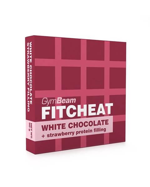 GymBeam Gymbeam Fitcheat Protein Chocolate Bar 90 g biela čokoláda s jahodou