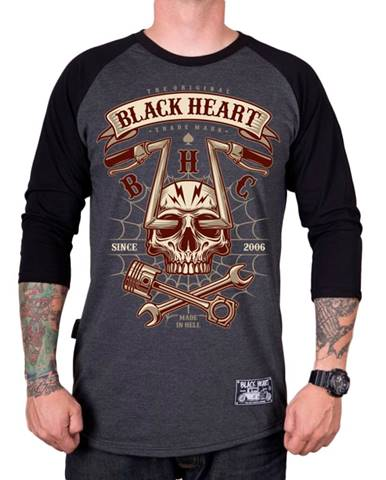 Tričko BLACK HEART Chopper Skull RG šedá - M