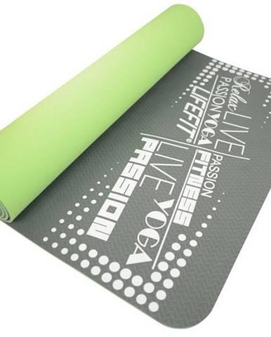 Podložka LIFEFIT YOGA MAT TPE, 183x61x0,5cm, dvouvrstvá, zeleno-šedá