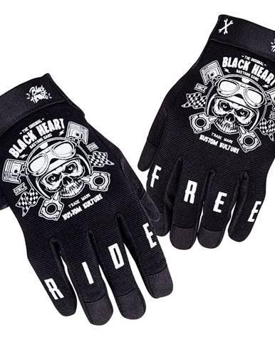 Moto rukavice W-TEC Black Heart Piston Skull čierna - S