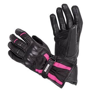 Dámske kožené moto rukavice W-TEC Pocahonta čierno-ružová - XS