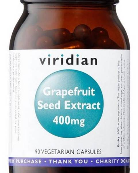 Viridian Viridian Grapefruit Seed Extract 400 mg (Extrakt zo semienok Grapefruitu) 90 kapsúl