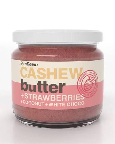 GymBeam Kešu maslo s kokosom, bielou čokoládou a jahodami 340 g